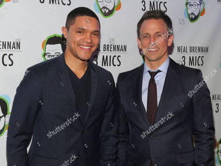 "Trevor Noah, left, and Seth Meyers, attend the Broadway opening night party of ""Neal Brennan 3 MICS"" at The Lynn Redgrave Theater, in New York"