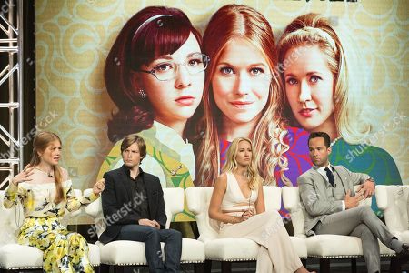 """Genevieve Angelson, from left, Hunter Parrish, Anna Camp, and Chris Diamantopoulos participate in the """"Good Girls Revolt"""" panel during the Amazon Television Critics Association summer press tour, in Beverly Hills, Calif"""