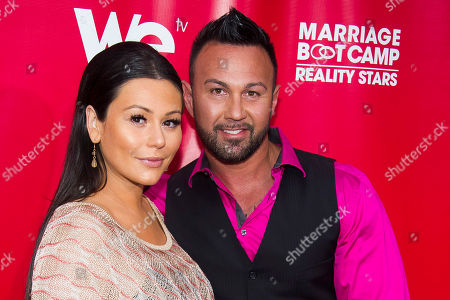 "Jenni ""JWoww"" Farley and Roger Mathews attend WE tv's ""Marriage Boot Camp: Reality Stars"" party in New York. In an Instagram post, Farley announced the birth of son Greyson Valor Mathews. The boy is the couple's second child"