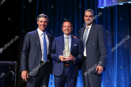 Stock Image of Allergan CCO, from left, Bill Meury, honoree and Allergan CEO and President Brent Saunders, and The Jed Foundation (JED) Executive Director and CEO, John MacPhee attend the 15th Annual JED Gala on in New York. JED is a leading mental health organization working to protect emotional health and prevent suicide among teens and young adults