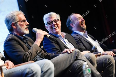 """Creator and executive producer Peter Mattei, left, executive producers Peter Tolan and Paul Giamatti, right, attend the WGN America world premiere screening of """"Outsiders"""", during the New York Television Festival at the SVA Theatre, on in New York"""