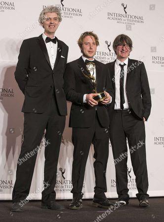 Stock Photo of Will Anderson, James Bluemel, Simon Russell winner best documentary