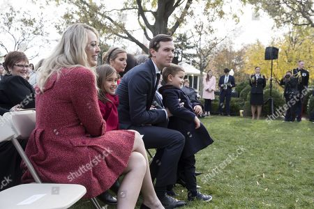 Senior Advisor to President Trump Jared Kushner (C), First daughter Ivanka Trump (Back) and their children Joseph (R) and Arabella (2-L), and Tiffany Trump (L) attend the 70th National Thanksgiving Turkey Pardoning Ceremony in the Rose Garden of the White House in Washington, DC, USA, 21 November 2017. This year's turkeys are from Minnesota and are named 'Drumstick' and 'Wishbone' and are 47 and 37 pounds respectively. Following the pardoning the birds will go to Virginia Tech's 'Gobbler's Rest'.