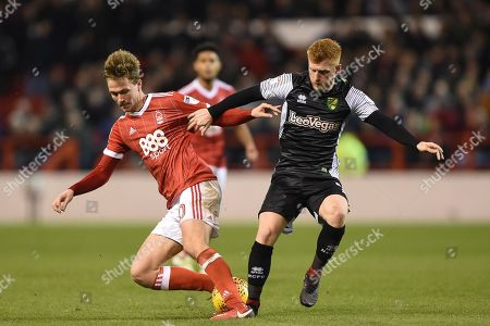 Nottingham Forest midfielder, on loan from Everton, Kieran Dowell (20)  battles with Norwich City midfielder Harrison Reed (4) during the EFL Sky Bet Championship match between Nottingham Forest and Norwich City at the City Ground, Nottingham