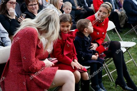 Donald Trump, Joseph Kushner, Arabella Kushner, Tiffany Trump. Ivanka Trump, right, sits with her children, Joseph and Arabella Kushner, and Tiffany Trump during the National Thanksgiving Turkey Pardoning Ceremony in the Rose Garden of the White House, in Washington