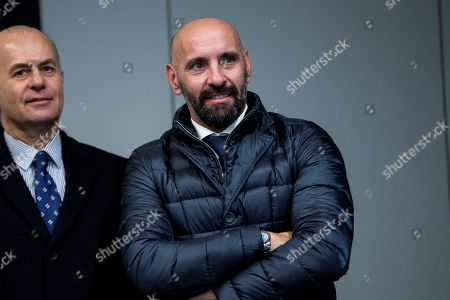 AS Roma's Sports Director Ramon Rodriguez 'Monchi' (R) reacts during the team's press conference held at Wanda stadium in Madrid, Spain, 21 November 2017. AS Roma will face Atletico Madrid  in an UEFA Champions League group C match on 22 November.