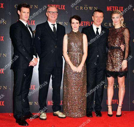 Matt Smith, Stephen Daldry, Claire Foy, Peter Morgan and Vanessa Kirby
