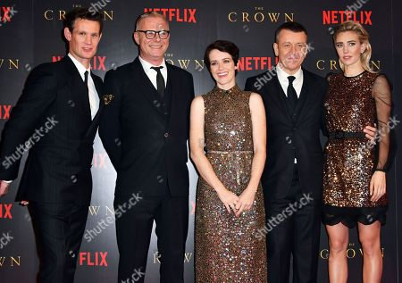 Matt Smith, Stephen Daldry, Claire Foy, Peter Morgan and Vanessa Kirby