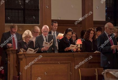 Camilla, the Duchess of Cornwall, centre left, Patron, the Guild of St Bride, alongside Robert Thomson, second left, CEO of News Corp, and Rebekah Brooks fourth left, chief executive of News UK, attend a service to commemorate journalists, camera-crew and support staff who have lost their lives whilst working on stories in trouble spots of the world, at St Bride's Church, in London