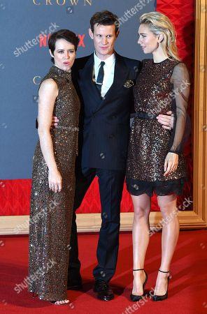 Matt Smith, Claire Foy and Vanessa Kirby