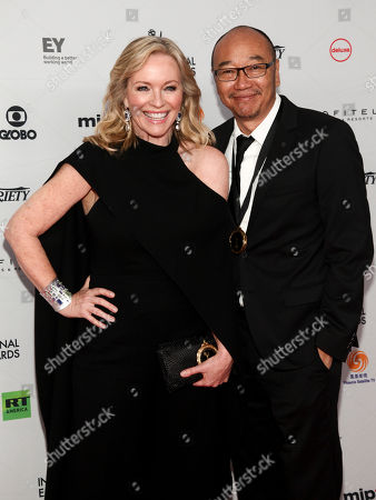 Rebecca Gibney, Tony Ayres. Rebecca Gibney, left, and Tony Ayres, right, attends the 45th International Emmy Awards at the New York Hilton, in New York