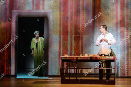 English National Opera presents Nico Muhly's 'Marnie' at the London Coliseum. This production is directed by Michael Mayer, lighting design by Kevin Adams, set and projection design by Julian Crouch, costume design by Arianne Phillips choreography by Lynne Page. The cast is: Sasha Cooke (Marnie), Daniel Okulitch (Mark Rutland), James Laing (Terry Rutland), Lesley Garrett (Mrs Rutland), Kathleen Wilkinson (Marnie's mother), Diana Montague (Lucy, Marnie's mother's neighbour), Alasdair Elliott (Mr Strutt), Eleanor Dennis (Laura Fleet), Matthew Durkan (Malcolm Fleet), Darren Jeffery (Dr Roman), Alexa Mason(Dawn, secretary at Halcyon Printing), Charlotte Beament (shadow Marnie), Katie Coventry (shadow Marnie), Emma Kerr (shadow Marnie), Katie Stevenson (shadow Marnie), Leo Sellis (little boy), David Newman (Derek), Susanna Tudor-Thomas (Miss Fedder, office supervisor), Ella Kirkpatrick (Marnie's mother, 1940).