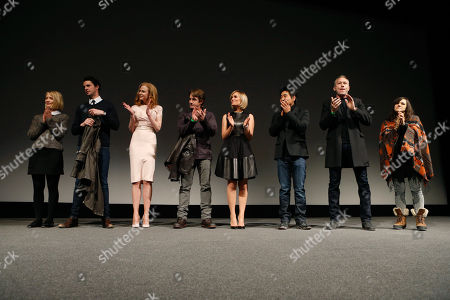 """From left, actors Mia Wasikowska, Matthew Goode, Nicole Kidman, Dermot Mulroney, Judith Godreche, cinematographer Chung-hoon Chung, producer Michael Costigan and composer Emily Wells speak onstage at Fox Searchlight's """"The Stoker"""" premiere during Sundance Film Festival on in Park City, Utah"""