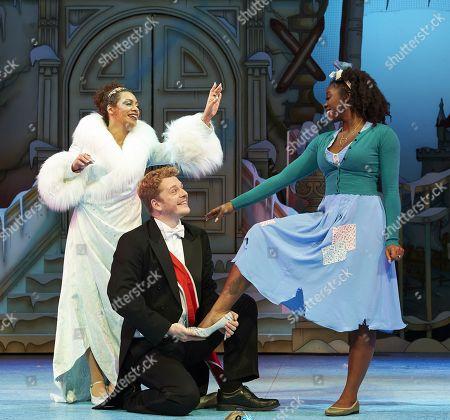 Krysten Cummings as the Fairy Godmother, Chris Jenkins as Prince Charming and Aisha Jawando as Cinderella