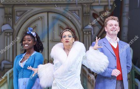 Aisha Jawando as Cinderella, Krysten Cummings as the Fairy Godmother and Chris Jenkins as Prince Charming