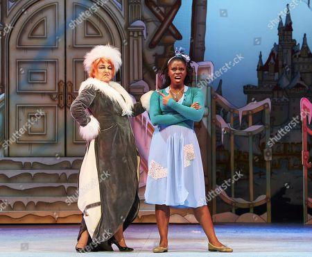 Susie McKenna as the Wicked Stepmother and Aisha Jawando as Cinderella