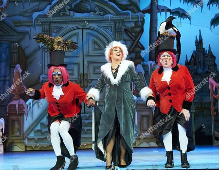 Tony Whittle and Kat B as the Ugly Sisters and Susie McKenna as the Wicked Stepmother