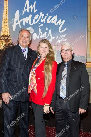 """Stock Image of Stewart F. Lane - aka """"Mr. Broadway"""" and Bonnie Comley pose with Patrick Demers during the """"UMass Lowell at The Palace Theater for An American in Paris"""" at The Palace Theater on Weds, in New York"""