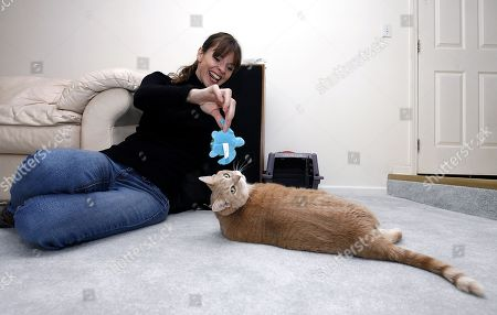 "ANIMAL PLANET pet trainer Victoria Stilwell, plays with Danielle DeLozier's, cat Pooh during an in-home training session on in Brownstown, Mich. DeLozier won Banfield Pet Hospital's Cat vs. Carrier ""inFURvention"" contest and received an in-home training session with Stilwell and free preventive care for a year from Banfield Pet Hospital"