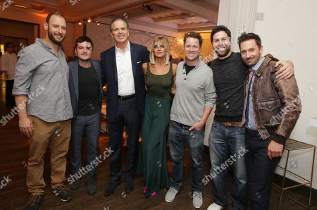 Evan Goldberg, Executive Producer, Josh Hutcherson, Randy Freer, CEO of Hulu, Eliza Coupe, Kyle Hunter, Executive Producer, Ariel Shaffir, Executive Producer, and Derek Wilson