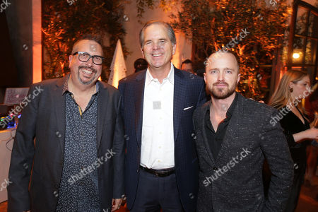 John Shiban, Writer/Director, Randy Freer, CEO of Hulu, and Aaron Paul