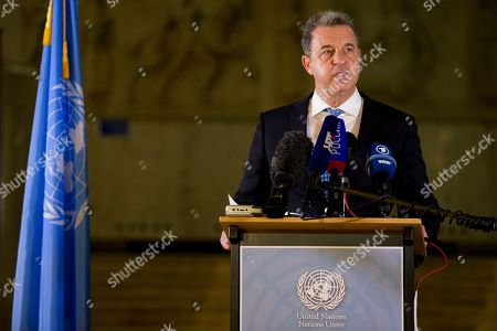 Stock Photo of Chief Prosecutor Serge Brammertz comments on the conviction for genocide and crimes against humanity and life imprisonment sentence for Bosnian Serb military chief Ratko Mladic at the Yugoslav War Crimes Tribunal in The Hague, Netherlands, . Mladic's trial is the last major case for the Netherlands-based tribunal for former Yugoslavia, which was set up in 1993 to prosecute those most responsible for the worst carnage in Europe since World War II