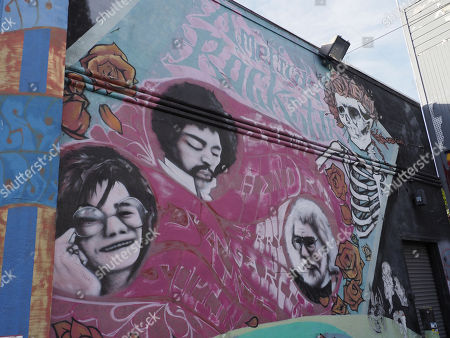 A mural of the late American Rock musicians, Jimi Hendrix (C), Janis Joplin (L) and Jerry Garcia (R) is displayed on a building in the Haight-Ashbury District in San Francisco, California, USA, 21 November 2017. Jimi Hendrix's 75th birth anniversary will be held on 27 November.