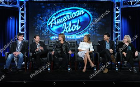 "Scott Borchetta, from left, Ryan Seacrest, Keith Urban, Jennifer Lopez, Harry Connick, Jr. and executive producer Trish Kinane participate in the ""American Idol"" panel at the Fox Winter TCA, Pasadena, Calif"