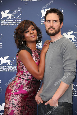 Director Jake Mahaffy poses with actress Edwina Findley during the photo call for the movie Free In Deed at the 72nd edition of the Venice Film Festival in Venice, Italy, . The 72nd edition of the festival runs until Sept. 12