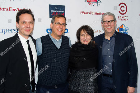 """Jonas Larsen, from left, Kent Alterman, Michele Ganeless and Doug Herzog attend Comedy Central's """"Night of Too Many Stars: America Comes Together for Autism Programs"""" at the Beacon Theatre in New York. Comedy Central's longtime president is leaving as the cable channel faces declining ratings. The channel said, that Ganeless will be replaced by Alterman, who as president of original programming guided shows including """"Inside Amy Schumer.â"""