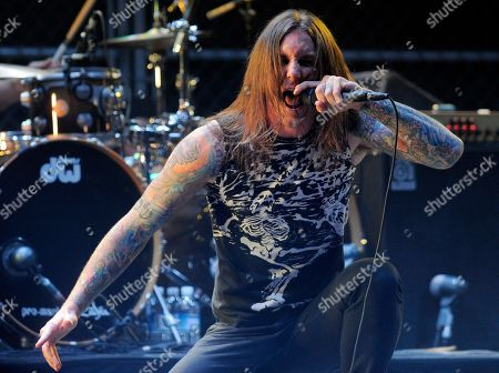 Tim Lambesis of the band As I Lay Dying performs at the second annual Revolver Golden Gods Awards in Los Angeles