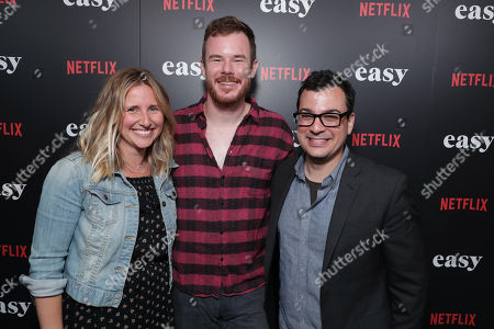 """Directors of original series, Netflix - Kristen Zolner, Director Joe Swanberg and Directors of original series, Netflix - Andy Weil seen at Netflix cast and crew screening of new original series """"EASY"""" at London West Hollywood, in West Hollywood, CA"""