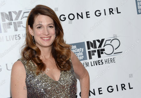 """Author Gillian Flynn arrives at 2014 NYFF - """"Gone Girl"""" opening night world premiere in New York. Flynn, Philip Roth, and Don DeLillo are among 75 authors and artists contributing annotated editions of their work for a PEN American Center auction. PEN, the literary and human rights organization, announced that the """"First Edition/Second Thoughts"""" auction will be held Dec. 2 at Christie's New York"""
