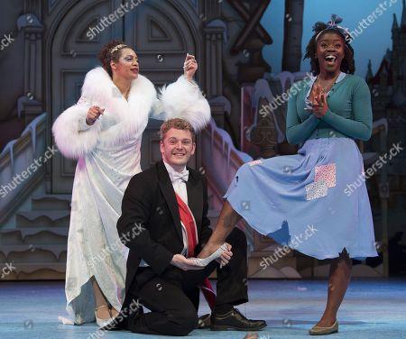 Krysten Cummings as Fairy Godmother, Chris Jenkins as Prince Charming, Aisha Jawando as Cinderella