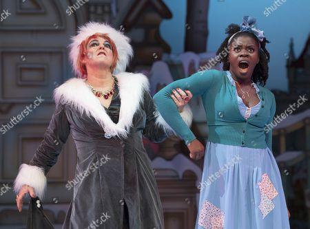 Susie McKenna as the Wicked Stepmother, Aisha Jawando as Cinderella