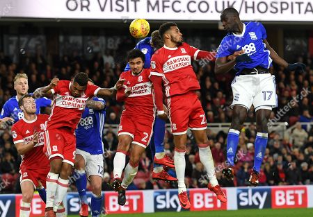 Stock Picture of Cheikh N?doye of Birmingham City (right) aims his header towards Middlesbrough's goal