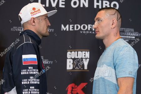Vyacheslav Shabranskyy, Sergey Kovalev. Vyacheslav Shabranskyy, right, and Sergey Kovalev face off for photographers during a boxing press conference, in New York. The pair square off on Saturday for the vacant WBO light heavyweight title