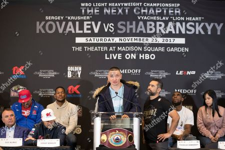Vyacheslav Shabranskyy speaks during the final press conference during a boxing press conference, in New York. Shabranskyy faces Sergey Kovalev, second from left front row, on Saturday for the vacant WBO light heavyweight title