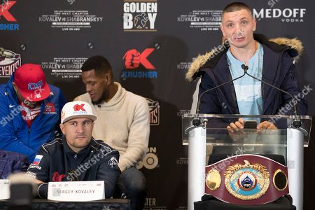 Vyacheslav Shabranskyy, Sergey Kovalev. Sergey Kovalev, left, listens Vyacheslav Shabranskyy speaks during a boxing press conference, in New York. The pair square off on Saturday for the vacant WBO light heavyweight title