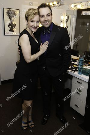 Maggie Lakis and Rob McClure backstage