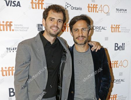 """Filmmaker Jonas Cuaron, left, and actor Gael Garcia Bernal attend the premiere for """"Desierto"""" at the Toronto International Film Festival in Toronto. The film opened in the U.S. on"""