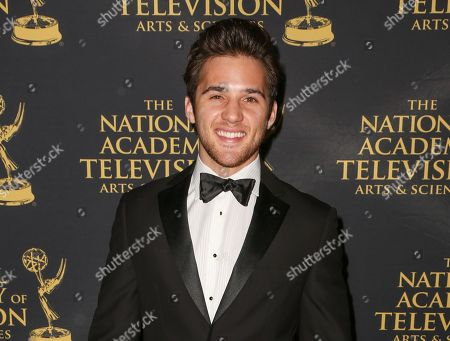 """Actor Casey Moss arrives at the 2015 Daytime Creative Arts Emmy Awards in Universal City, Calif. Moss is facing charges of assault, disorderly conduct and resisting arrest after officers were called Monday, Oct. 27, after a hotel in Scottsdale, Ariz., reported an intoxicated Moss tried to punch a bartender for cutting him off and shoved another person. The """"Days of Our Lives"""" actor was in town with co-stars for a book-signing celebrating the NBC soap's 50th anniversary"""