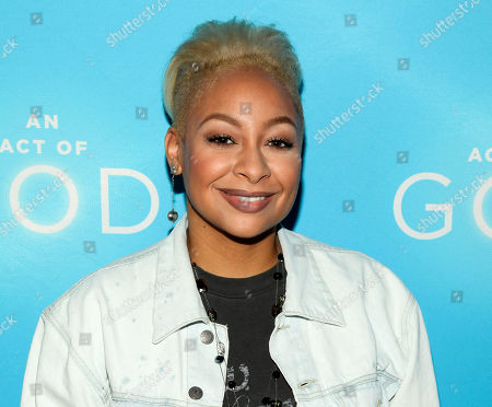 """Stock Photo of Actress Raven-Symone attends the Broadway opening of """"An Act Of God"""" at Studio 54 in New York. Raven-Symone is now officially a co-host of """"The View."""" After 37 appearances as guest co-host on the weekday talk show, she joins the panel alongside moderator Whoopi Goldberg and co-hosts Nicolle Wallace and Rosie Perez effective immediately. Her co-panelists made the announcement on Wednesday's edition"""