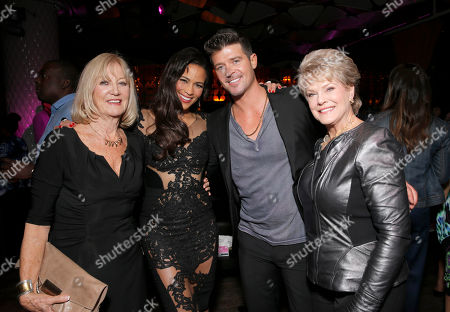 "Paula Patton and Robin Thicke with their mothers Joyce Patton and Gloria Loring at the after party for Fox Searchlight's Los Angeles Premiere of ""Baggage Claim"" on in Los Angeles"