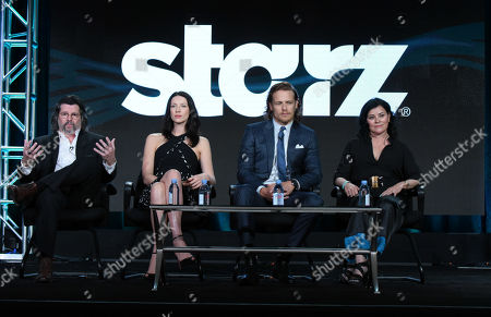 "Executive producer/showrunner Ronald D. Moore, from left, Caitriona Balfe, Sam Heughan and author Diana Gabaldon participate in the panel for ""Outlander"" at the Starz 2016 Winter TCA in Pasadena, Calif. Film and TV studio Lions Gate said Thursday, June 30, 2016, it is buying cable channel Starz in a deal worth $4.4 billion. Lions Gate is the company behind ""The Hunger Games"" movies and the ""Orange Is The New Black"" TV series. Englewood, Colo.-based Starz runs its namesake cable channels. Together, Lions Gate says it can tap its library of movies and TV shows and air them through Starz's channels"