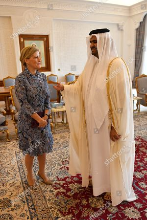 Sophie Countess of Wessex meets with Abdullah bin Nasser bin Khalifa Al Thani, deputy Emir of Qatar at Doha palace