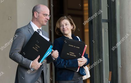 French Education Minister Jean-Michel Blanquer and French Defense Minister Florence Pagny