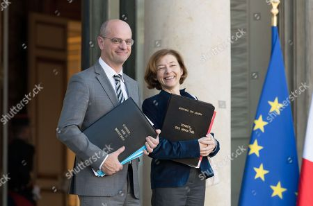 Stock Photo of French Education Minister Jean-Michel Blanquer and French Defense Minister Florence Pagny