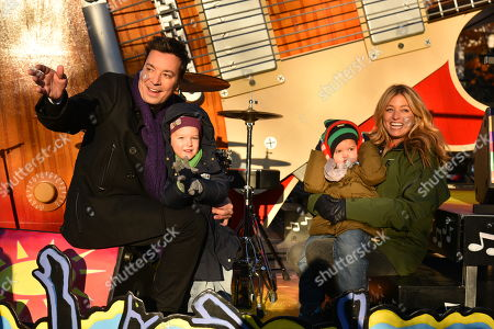 Stock Image of Jimmy Fallon, Nancy Juvonen and daughters Winnie and Frances