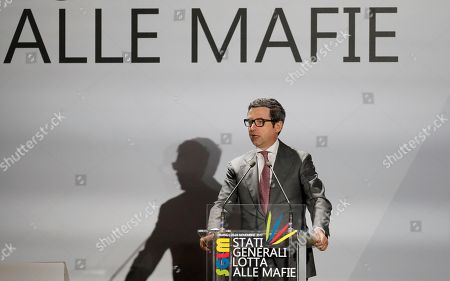 """Italian Justice Minister Andrea Orlando delivers his speech during a meeting in Milan, Italy, . Italy's top anti-mafia prosecutors gathered in Milan for a conference """"Stati Generali Lotta alle Mafie"""" (General States on the Fight against the Mafia"""